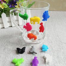 12PCS/ Set Party Dedicated Animal Suction Cup Wine Glass Silicone Label Silicone Wine Glasses Recognizer Marker Tea Holder(China)