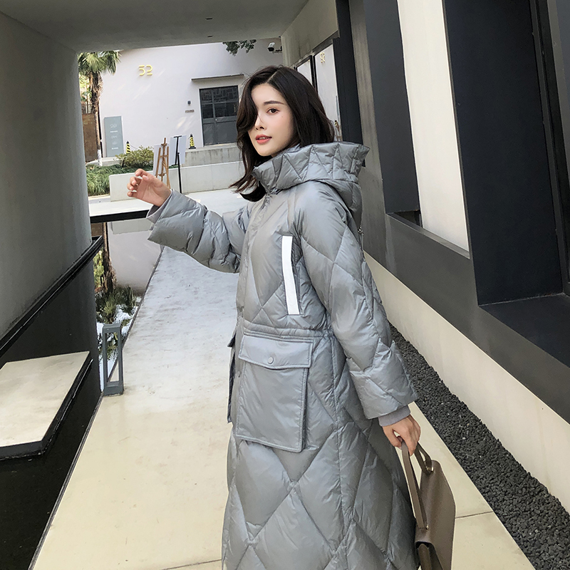 Women's Winter Down Jacket 2020 White Duck Down Coat Female Puffer Jacket Hooded Korean Long Ladies Coats KJ3702