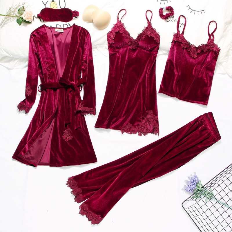 2019 กำมะหยี่สีทองและชุด 3-6 ชิ้น WARM ฤดูหนาวชุดนอนชุดผู้หญิงเซ็กซี่ลูกไม้ Robe ชุดนอน sleepwear