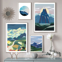 Alpine Wall Art Canvas Painting Abstract Mountain Nordic Posters and Prints Decorative Picture Modern Home Decoration No Frame cheap EYES ON WALLS Canvas Printings Single Waterproof Ink Unframed 0525-01HY(2201 Spray Painting Vertical Rectangle Scandinavian Style