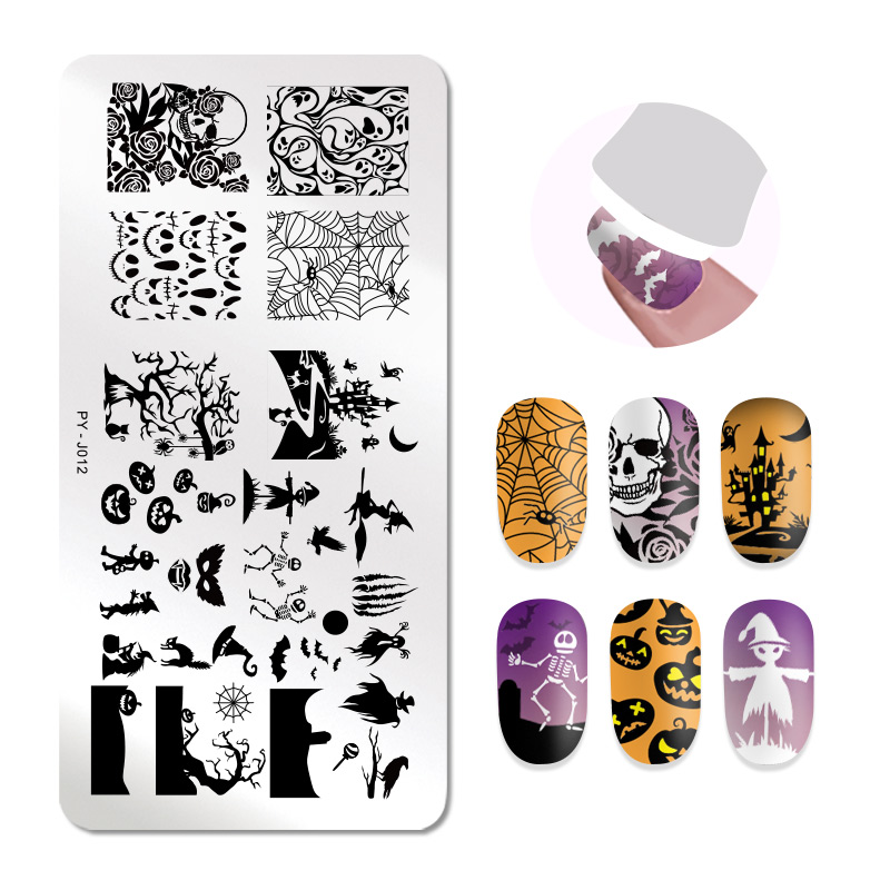 Image 4 - 1Pc PICT YOU Halloween Series Stamping Plates Nail Art Stamping Image pattern Plate Stainless Steel Stencil Accessories Tools-in Nail Art Templates from Beauty & Health