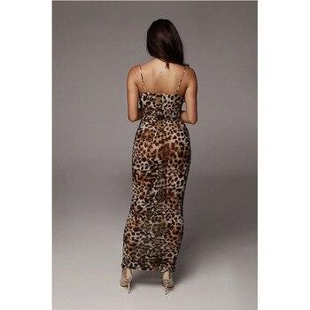 Sexy Leopard Print Snake Skin Dress Women Backless Elegant Bodycon Slim Pencil Dress Plus Size See Through Evening Party Dresses 6