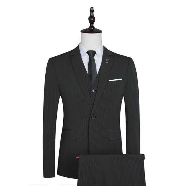 Noir bleu marron rayé 3 pièces Business Party hommes marque pantalon costumes mariage marié smoking Blazer pantalon gilet hommes Slim Suite