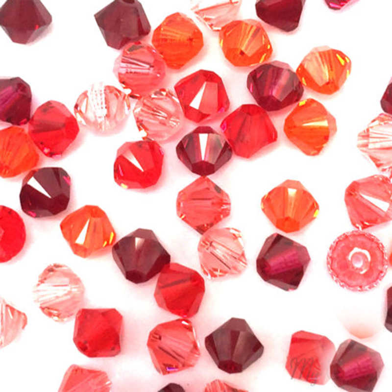 BEAUCHAMP 4 مللي متر الورد الأحمر خرز كريستالي Bicone قلادة شرابة الأقراط سوار القوس عقدة النتائج مجوهرات الخياطة اكسسوارات السائبة