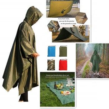 3 In 1 Outdoor Military Waterproof Raincoat Rain Coat Men Raincoat Women Awning From The Rain Motorcycle Rain Poncho Picnic Mat 1