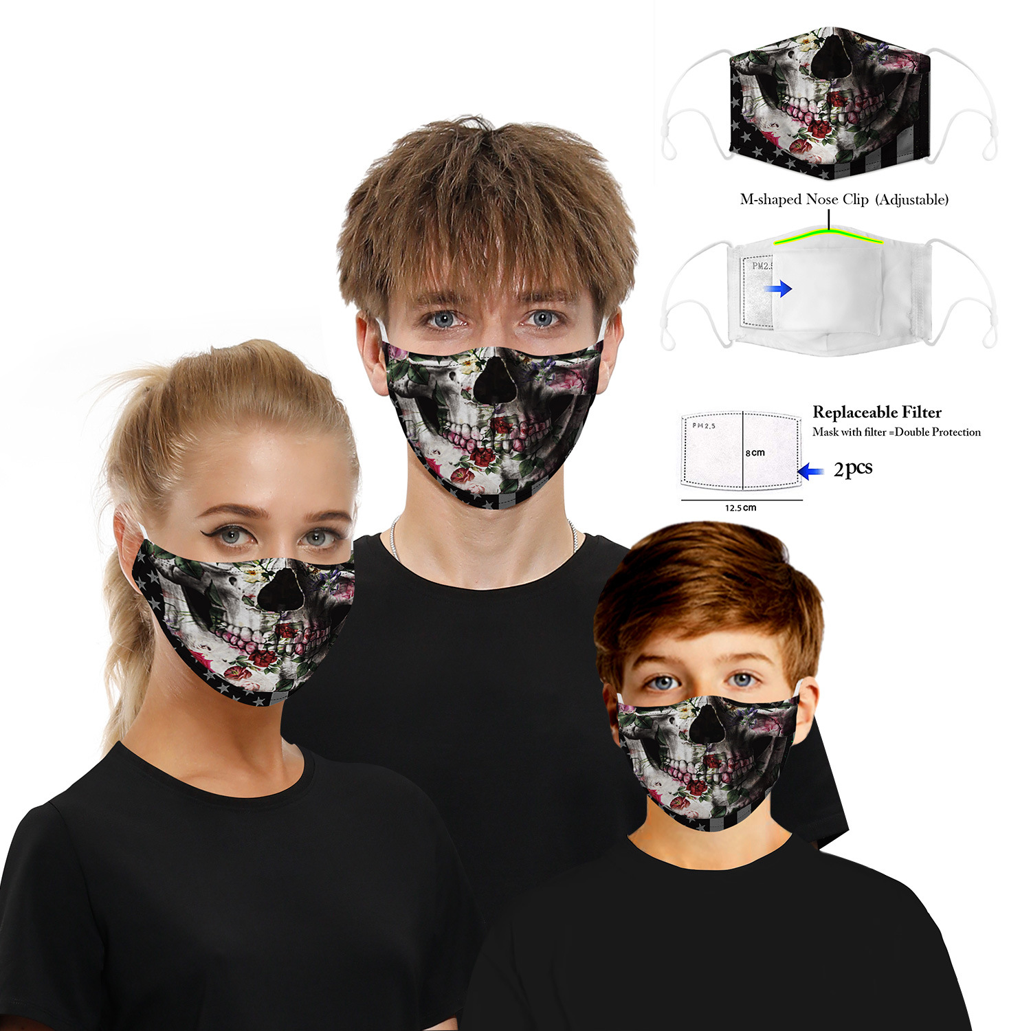 1 Mask+2 Filter 3D Digital Printing Dust Haze Mask PM2.5 Adult Masks Adjustment Ear Mask