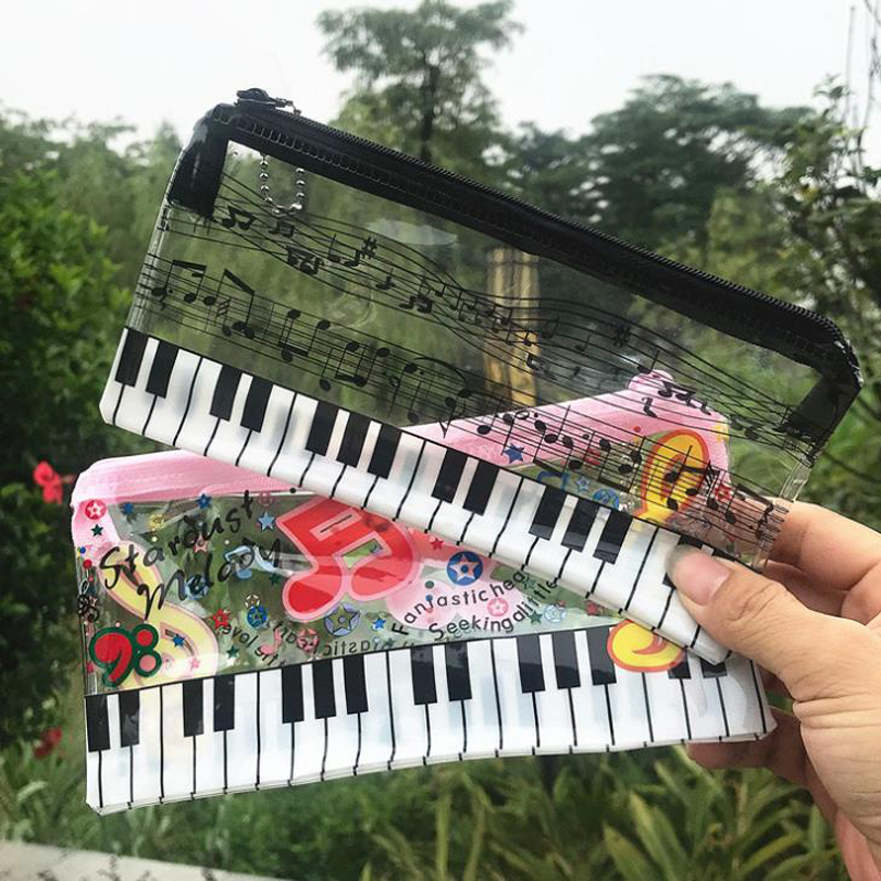 1 Pcs Cute Music Pencil Case Music Notes Piano Keyboard Plastic Transparent Pencil Bags Student Stationery Office School Gifts