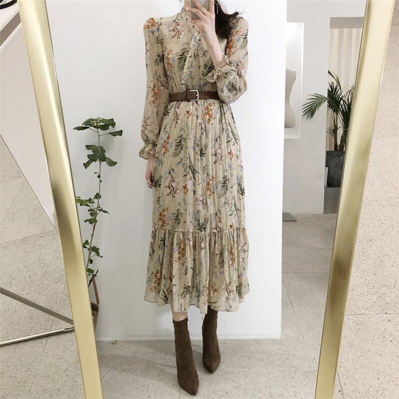 Heydress elegante com decote em v floral impresso vestido feminino alargamento manga a linha vestido de chiffon feminino 2019 vintage feminino midi vestidos