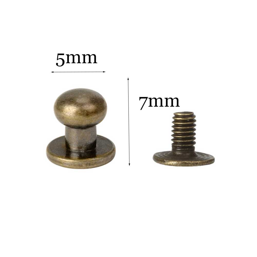 100 PACK Chicago Screws Solid Brass Accessories Nail Rivet Chicago Button For...