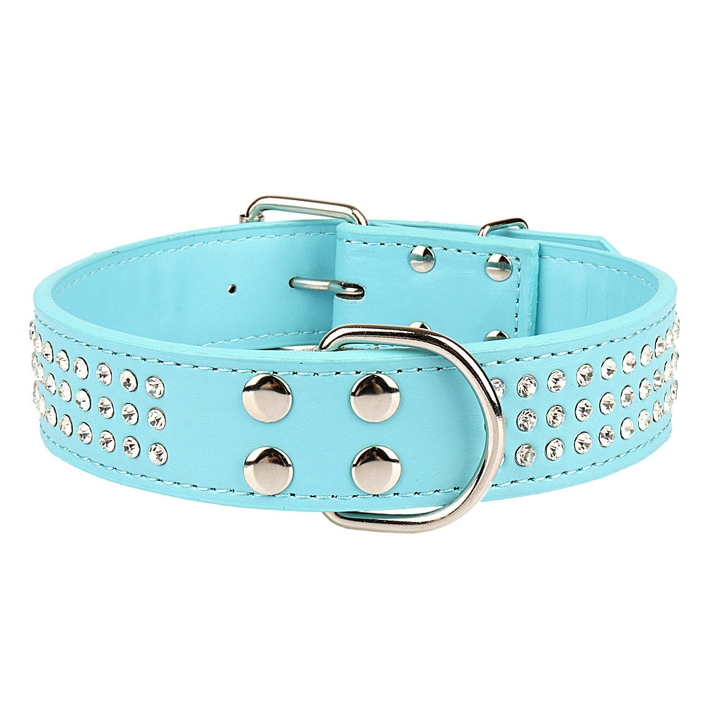 Diamond Set Genuine Leather Pet Large Dog Collar Three Rows Man-made Diamond Dog Chain Creative Not Exposed Nail Feet Sell Throu