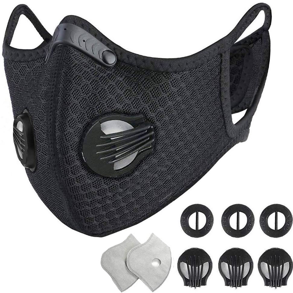 PM2.5 Valve Mask With 2 Filters 3 Exhaust Valves Half Face Reusable Mask Washable Couth Caps Sport M