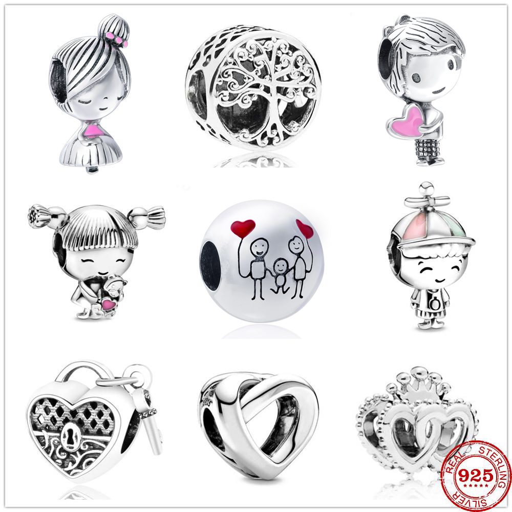 New cute boy and girl forever family tree lock heart Beads fit Original Pandora Charms Silver 925 Bracelet DIY Women Jewelry