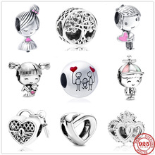 Charms Silver 925-Bracelet Heart-Beads Women Jewelry DIY Girl Family Cute Original Pandora