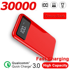 30000mAh Portable Mobile Power Supply Charging and Lighting LCD Liquid Crystal Display External 2USB Battery Ultra-thin Charger(China)