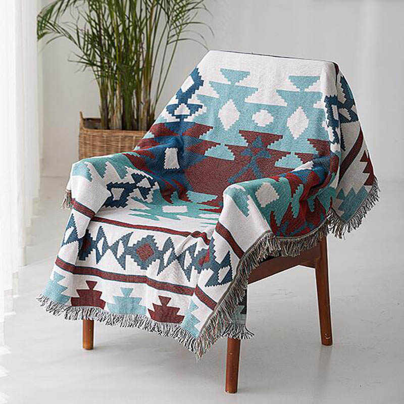 Cotton Sofa Towel Cover Knitted Blanket with Tassel Home Decor Blanket Tapestry