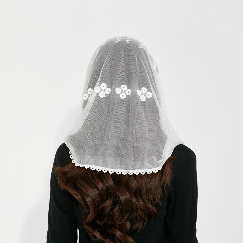 Scarf for Women Turban Girls Print Headband Mantilla Chapel Hair Band Accessories Headwrap Autumn Fashion embroidery