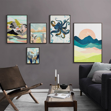 Scandinavian Abstract Canvas Poster Mountain Landscape Wall Art Print Octopus Painting Decorative Picture Living Room Decor dancing butterfly abstract canvas painting wall art poster and print scandinavian decorative picture modern home decoration