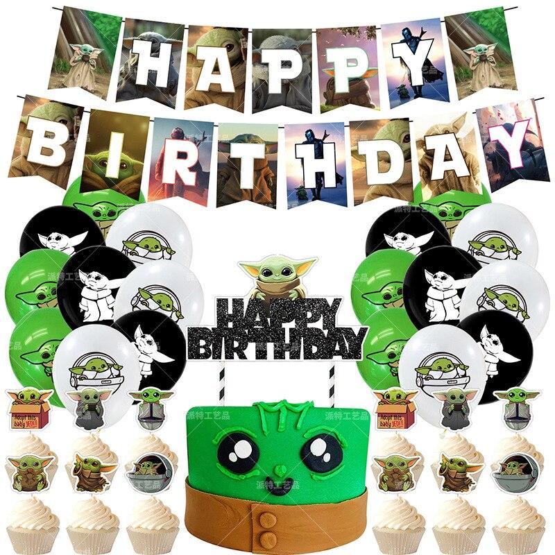 1 комплект Мандалорское йода детская День рождения декоративный шар, комплект с принтом «Звездные войны» баннер Детские День рождения украшения