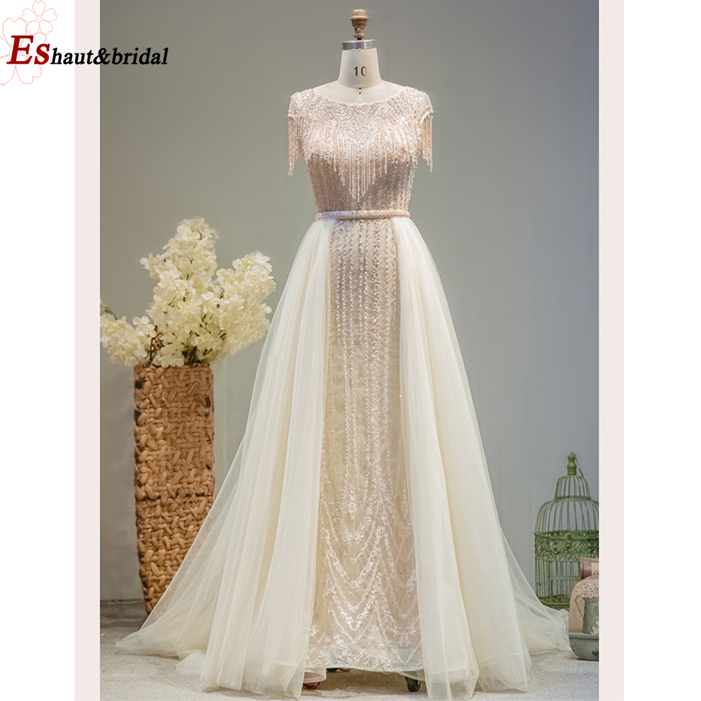 Dubai Arabic Lace Evening Dress For Women 2019 Long O Neck Sleeveless Crystal Handmade Formal Party Gown