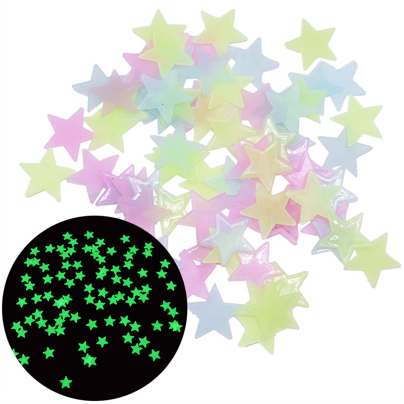 100pcs 3D Luminous Fluorescent Star Wall Stickers Decal Glow In The Dark Stickers for Kids Room Bedroom Home Ceiling Decoration