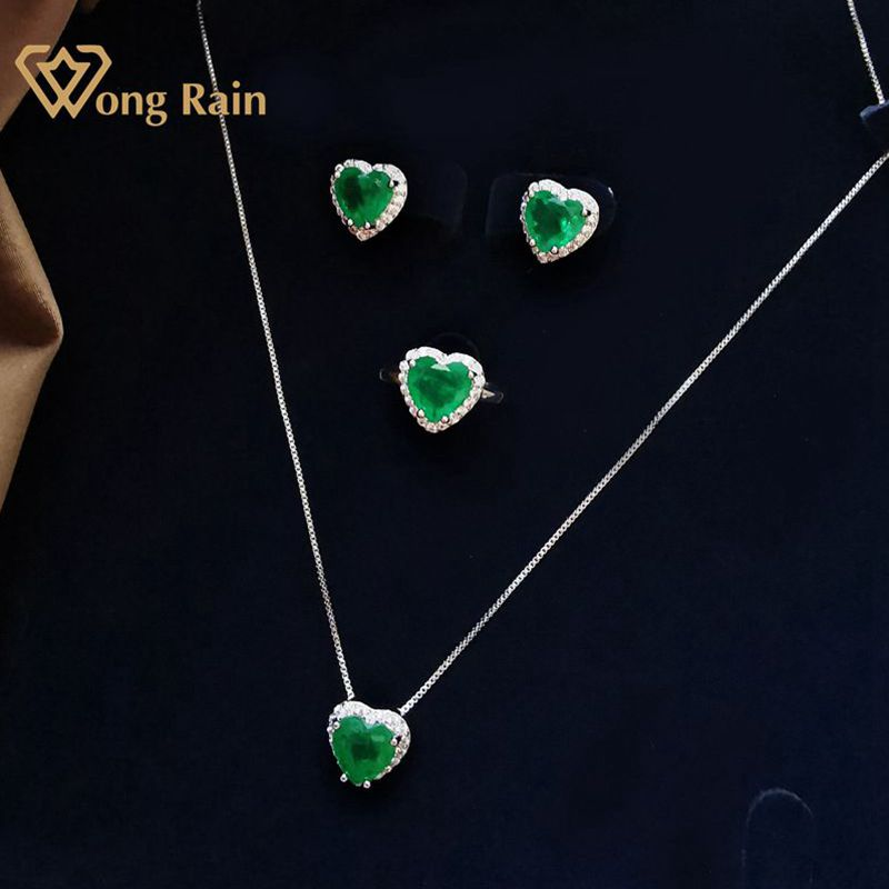 Wong Rain-pendientes/colgante/Collar/anillos de piedras preciosas de Esmeralda y corazón de plata de ley 925, conjuntos de joyería de compromiso de boda al por mayor