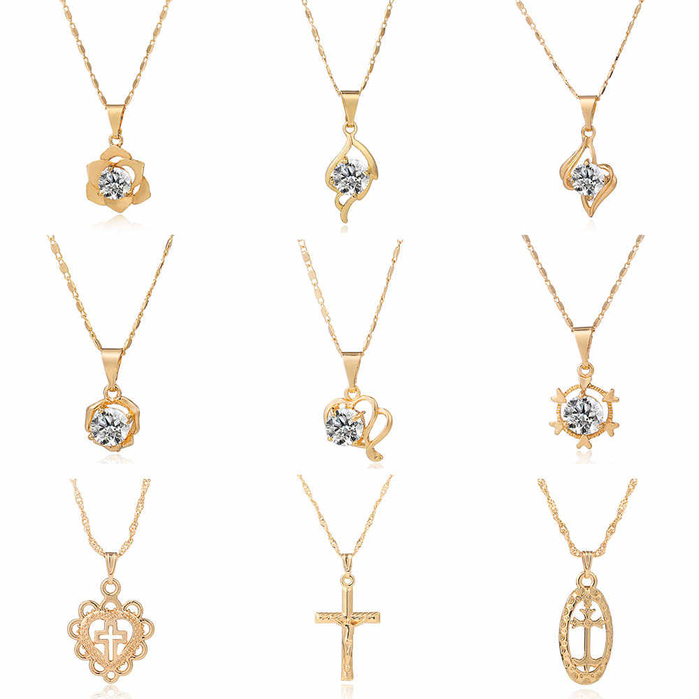 Viennois or couleur pendentif collier pour femmes strass géométrique torsadé collier fête bijoux 2019