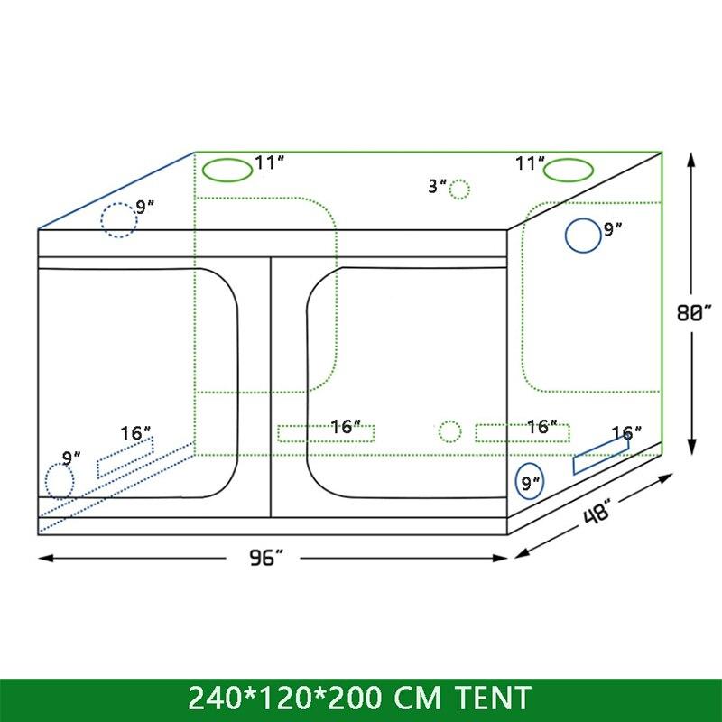 Cultiver la serre hydroponique d'intérieur de tente 240*120*200mm plante de boîte de pièce croissante, serres de jardin Non toxiques de Mylar réfléchissant