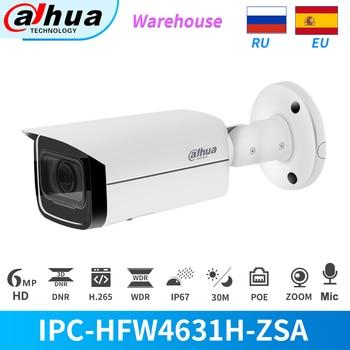 Dahua IP Camera 6MP 5X Zoom PoE Security Outdoor IP67 Build In MiC IPC-HFW4631H-ZSA CCTV Surveillance SD Card Slot With Bracket dahua 2x2mp starlight ir mini dome network camera ipc hdbw4231f e2 m built in mic ip67 ik10 original security ip camera no logo