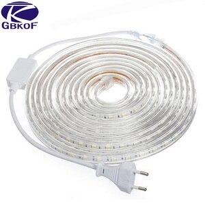 Image 2 - 220V 240V SMD 5050 led şerit esnek ışık 5m 10m 15m 20m 25m sıcak beyaz/beyaz/mavi priz 60leds/m su geçirmez led şeritler
