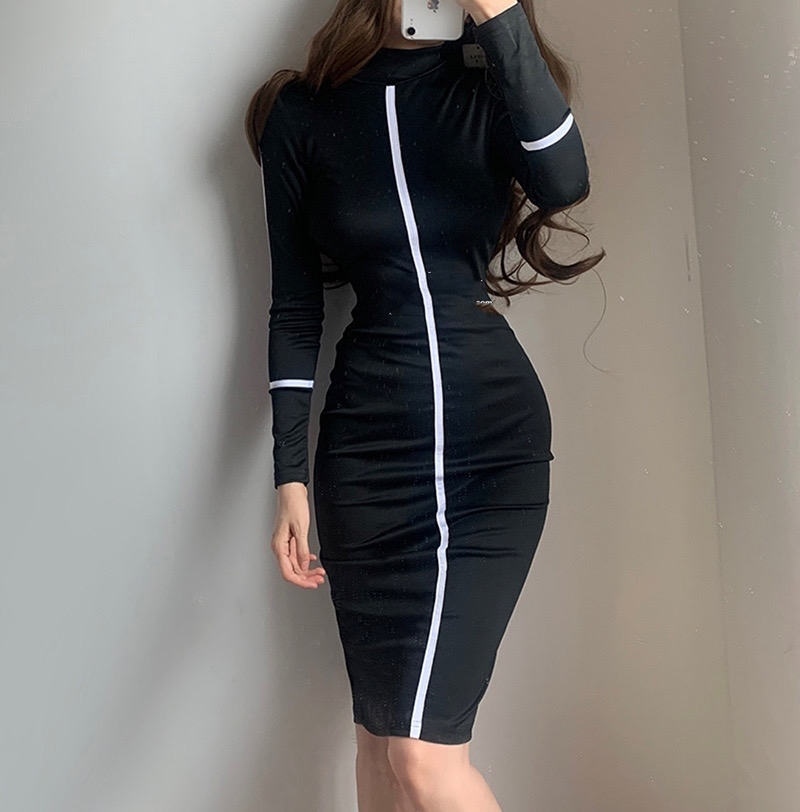 Small high necked long sleeved Kardashian Dress High Waisted - kim-kardashian-outfits-dresses, dresses