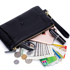 Image 3 - Fashion Women Wallets Handbag Genuine Leather Pouch Ultra thin Wristlet Clutch Lady Cash Phone Coin Purse Small Clutch Pouch