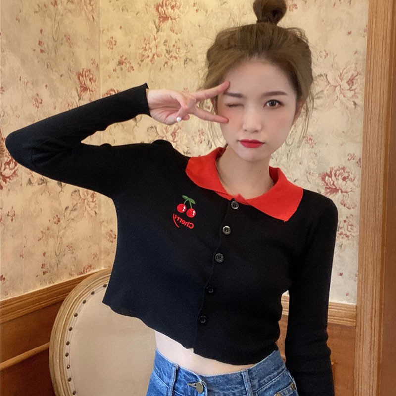 2020 Autumn Long-sleeved Embroidery Knitted Cardigan Sweet Cherry Print Thin Sweater Lazy Style Short Top image