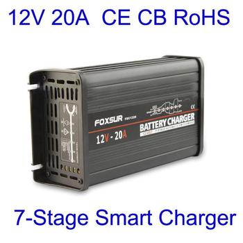 12v automatic lead acid battery charger 20a 12v FOXSUR 12V 20A Car Automatic Battery Charger 7-Stage Smart Lead Acid Pulse Repair Battery Charger MCU Maintainer Charger