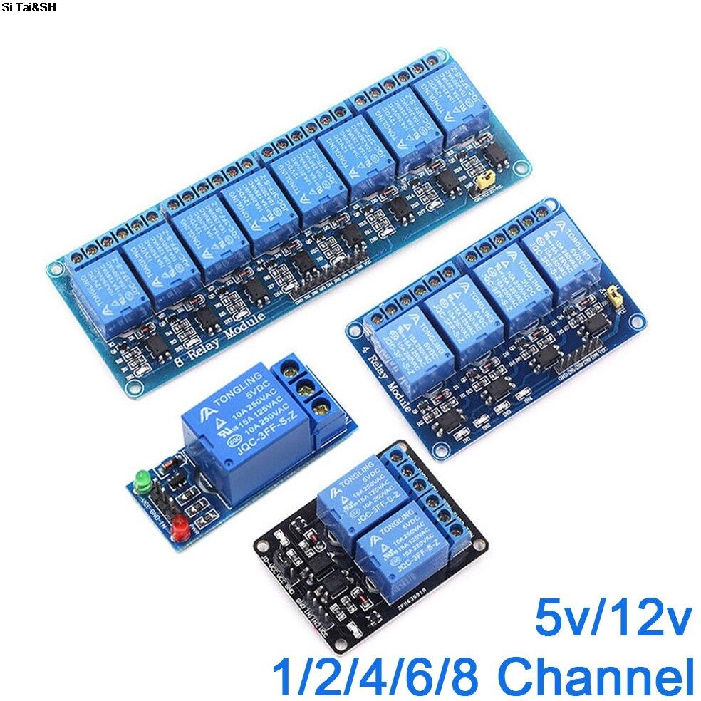 Релейный модуль для arduino, 5 В, 12 В, 1, 2, 4, 6, 8 каналов, с оптроном, релейный выход