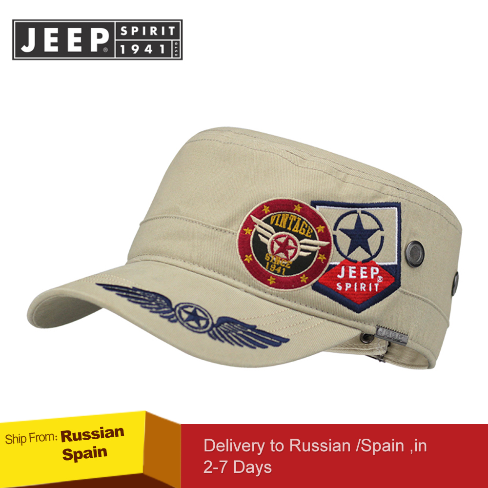 Image 3 - JEEP SPIRIT Brand New 2019 Fashion Flat Roof Military Hats Casual Sun Shade Bush Hat Baseball Field Cap For Men Women Gorras-in Men's Baseball Caps from Apparel Accessories on AliExpress