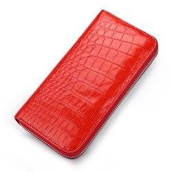 Di cuoio di lusso del raccoglitore di modo per le donne reale del coccodrillo elegante Delle Signore Lungo Verde del progettista di stile Europeo portafogli di carte di tasca del sacchetto