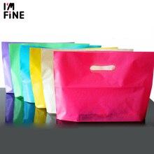 Lege Plastic Boodschappentassen Voor Boutique Verpakking, 50Pcs Aangepaste Logo Plastic Zakken Voor Kleding/Geschenken/Cosmetica Doos