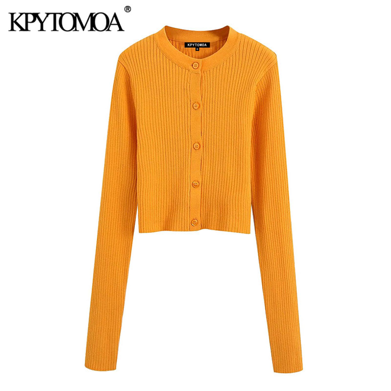 KPYTOMOA Women 2020 Fashion Ribbed Cropped Knitted Cardigan Sweater Vintage Long Sleeve Button-up Female Outerwear Chic Tops
