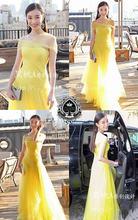 Женское длинное вечернее платье желтое Тюлевое ТРАПЕЦИЕВИДНОЕ