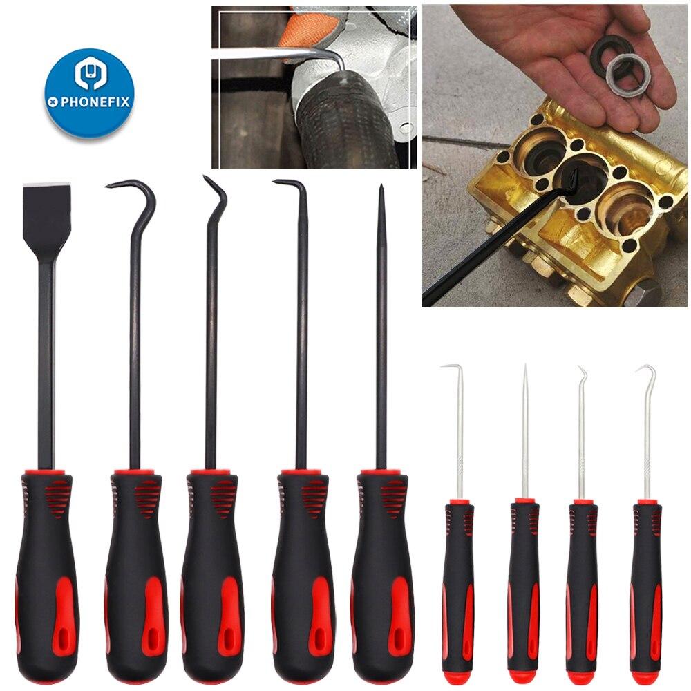 O-anel de Vedação do Óleo Ferramenta de Remoção Raspador para a Reparação de Automóveis Mão de Gancho Lote Ferramentas Artesanais Carro Extrator Kit Pick Grupo Gancho 9 Pçs –