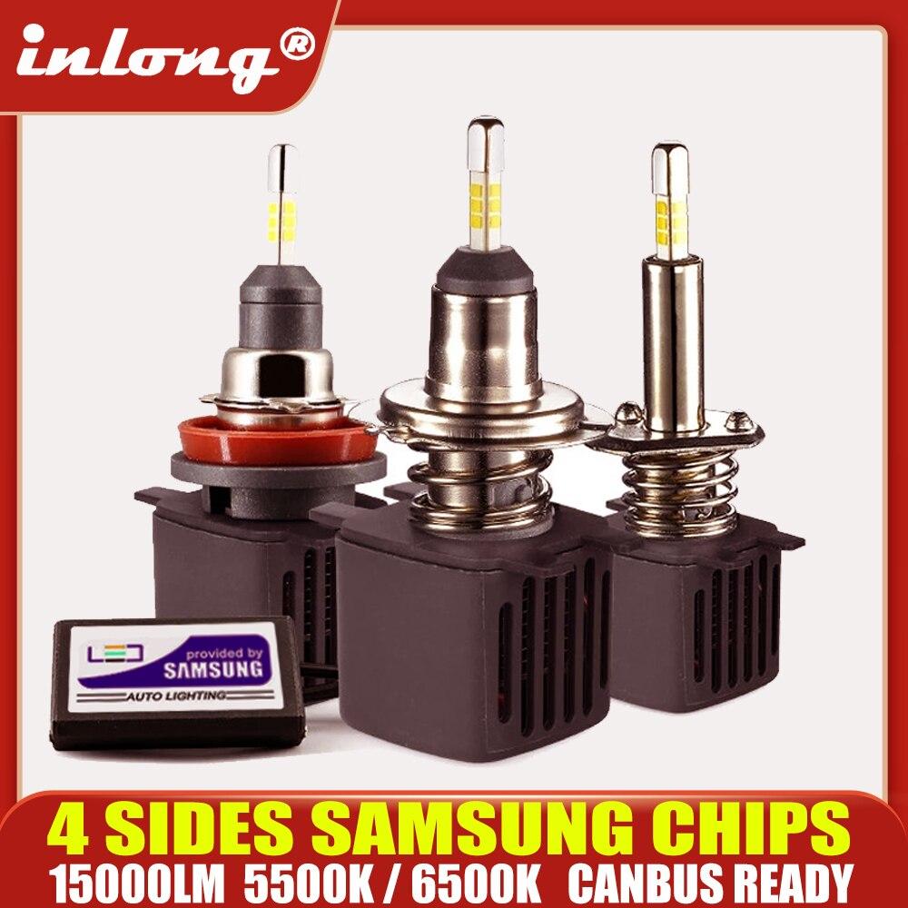 Светодиодная лампа H7 Canbus, светодиодные лампы H1 с чипами Samsung H11 H4, Светодиодные Автомобильные фары H8 9005 HB3 9006 HB4, светодиодная лампа, противоту...
