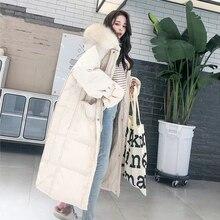 FMFSSOM Women New White Duck Down Jacket Ladys Hooded Fur Co