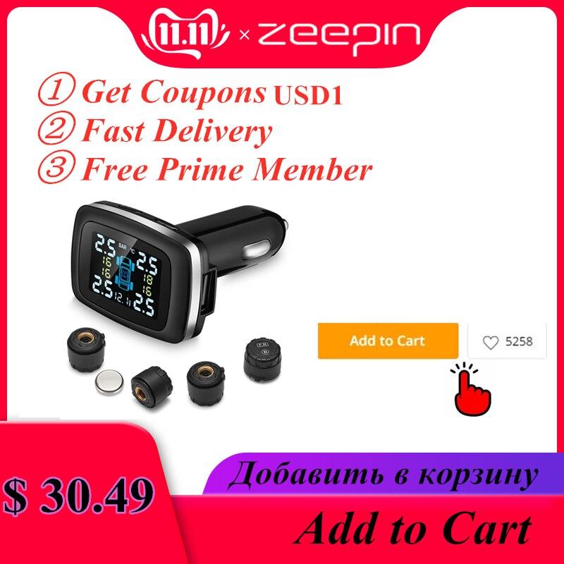 Zeepin c100 sistema de monitoramento pressão dos pneus cigarro isqueiro plug tpms tela lcd 4 sensores externos alarme pneu automático