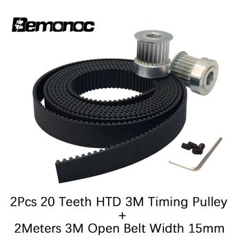10 metrów poliuretan 3M szerokość paska rozrządu 15mm + 10szt 15 zębów 3M krążek z otworami 5 6 6 35 8mm dla HTD 3M grawerka cnc tanie i dobre opinie Bemonoc 20-3M-15 BF Standardowy Pasek rozrządu Timing Belt+Synchronous wheel Support High Quality New Timing Belt+Synchronous wheel