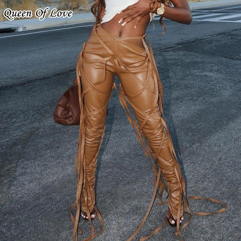 Наклонная конструкция талии на шнуровке пикантные вспышки женские брюки с высокой талией бинт леггинсы Клубные вечерние из искусственной ...