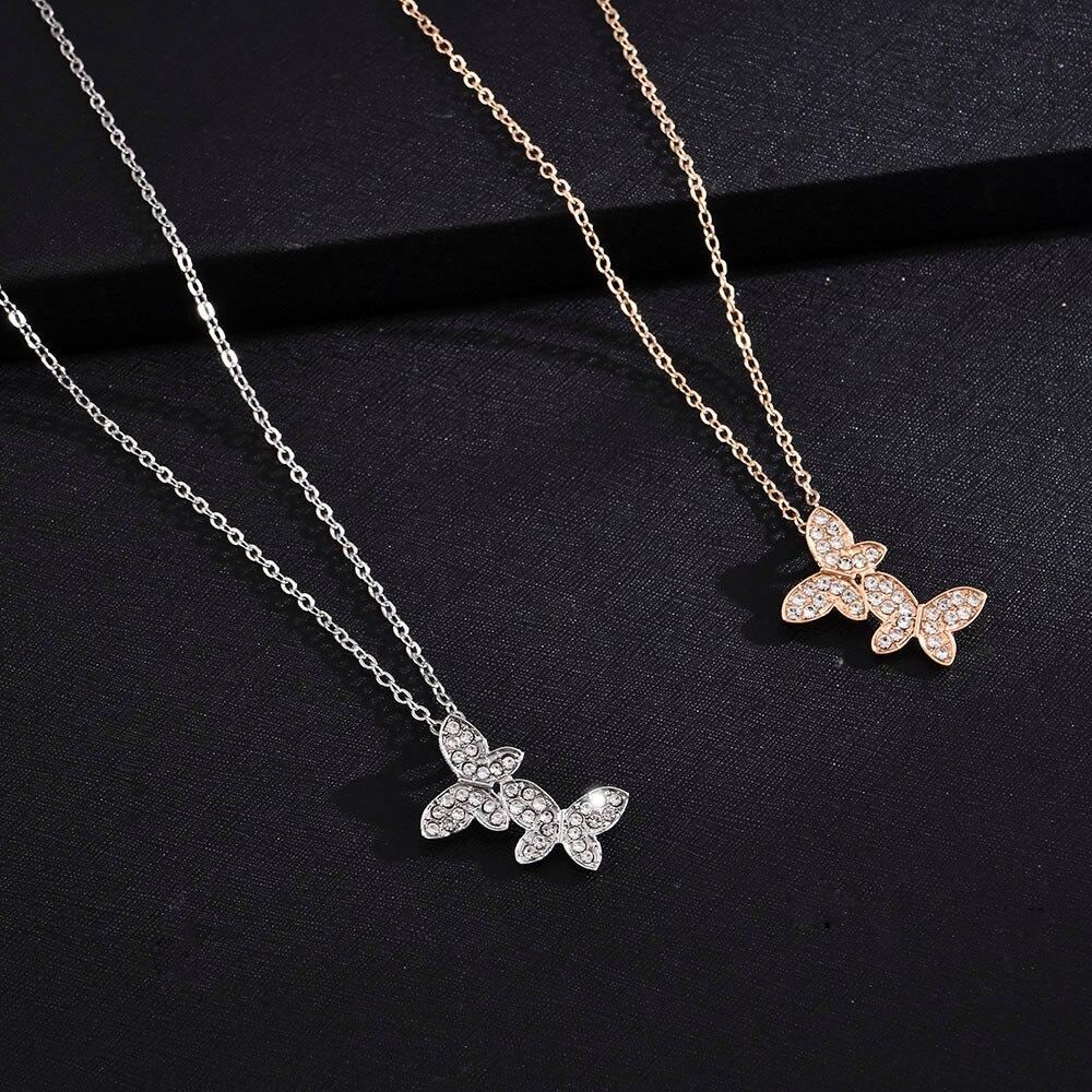 Yanqueen-collar con colgante de mariposa para mujer, cadena sencilla de clavícula, con carácter salvaje, accesorios lujosos