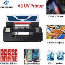 Punehod Factory Price UV Flatbed Printer A3 Size Fully Automatic White Ink Circulation With Free Gifts