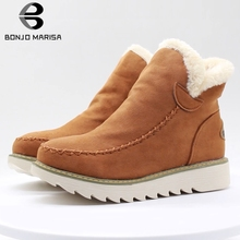 цена на Winter Snow Boots Women Ankle Boots Solid Round Toe Platform Shoes Women Flats Concise Style Shoes Warm Fur Shoes Casual Shoes