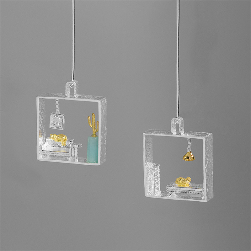 INATURE Cat at Home 925 Sterling Silver Fashion Square Geometric Big Drop Earrings for Women Creative Jewelry