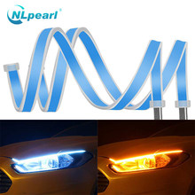 NLpearl 2x światła samochodowe montaż DRL Led światła dzienne wodoodporny elastyczny przewodnik taśma LED DRL włączony kierunkowskaz żółty
